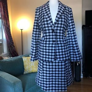 Talbots Houndstooth wool blend skirt suit